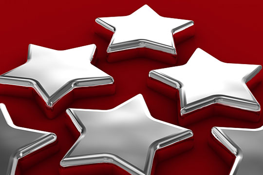chrome stars on a red background