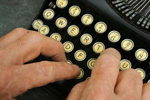 content writer using a typewriter