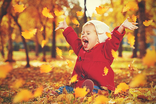little girl playing in autumn leaves