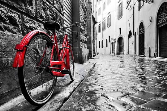 vintage bicycle and cobblestone street